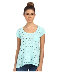 Columbia Mini Flags Pocket Tee Candy Mint Collegiate Navy Women's Short Sleeve Pullover Blue