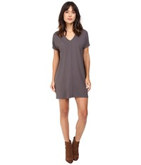 Lilla P Stretch Jersey Short Sleeve V Neck Dress Pewter Women's Dress