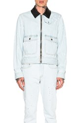Givenchy Destroyed Denim Jacket With Leather Collar In Blue
