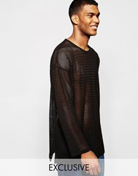Reclaimed Vintage Long Sleeve Lightweight Jumper Black
