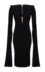 Alex Perry Paige Open V Satin Crepe Long Sleeve Split Pencil Dress Black