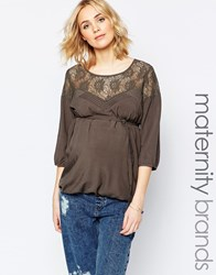 Mama Licious Mamalicious Anne Maternity Top With Lace Yoke Brown