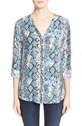 Soft Joie 'Dane' Snake Print Button Front Blouse Slate Blue Grey