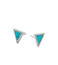 Michael Kors Turquoise Triangle Stud Earrings Silver
