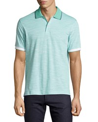 Luciano Barbera Slub Knit Contrast Trim Polo Shirt Teal