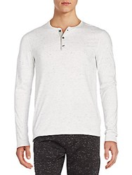 Vince Cotton Jersey Henley Tee Heather White