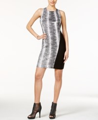 Bar Iii Snakeskin Print Bodycon Dress Only At Macy's Black Combo