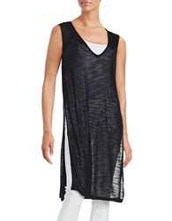 H Halston Sheer Knit Tunic Black