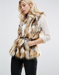Only Augusta Patched Faux Fur Gilet Brown