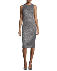 Michael Kors Sleeveless Metallic Jacquard Sheath Dress Fawn Gold Silver