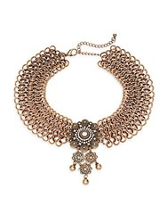 Cara Chainmail Pendant Choker Necklace Goldtone