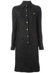 Jean Louis Scherrer Vintage Floral Shirt Dress Black
