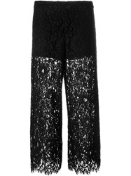 Twin Set Cropped Lace Trousers Black