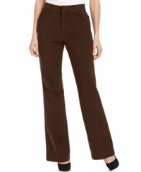 Jm Collection Twill Straight Leg Pants Espresso