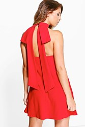 Boohoo Open Back Detail Shift Dress Red