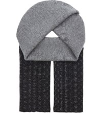 Pringle Patterned Wool And Cashmere Scarf Grey Melange Graphite