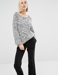 Cheap Monday Knit Jumper With Open Back White Black Multi