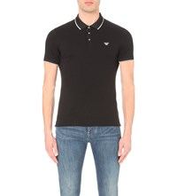 Armani Jeans Slim Fit Striped Trim Stretch Cotton Polo Shirt Black