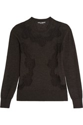 Dolce And Gabbana Lace Paneled Cashmere Blend Sweater Charcoal