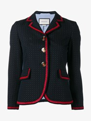 Gucci Polka Dot Cotton Wool Blend Jacket Navy Red White Black