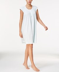 Miss Elaine Embroidery Trimmed Smocked Nightgown Aqua