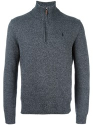 Polo Ralph Lauren Ribbed Zip Collar Jumper Grey