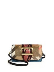 Burberry Summer Patchwork Multicolor Snakeskin Leather And Sequin Shoulder Bag Gold Multi