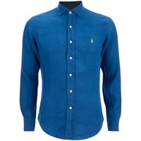 Polo Ralph Lauren Men's Slim Fit Long Sleeve Linen Shirt Chalet Blue