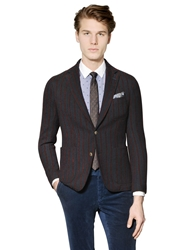 Royal Hem Needle Punch Striped Wool Twill Blazer Navy