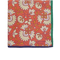 Penrose London Men's Floral Dotterel Pocket Square Orange