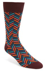 Bugatchi Men's Herringbone Socks Bordeaux Teal