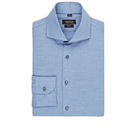 Barneys New York Brushed Herringbone Shirt Blue