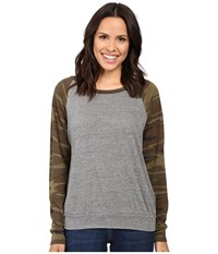 Alternative Apparel Printed Slouchy Pullover Eco Grey Camo Women's Sweatshirt Gray