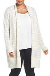 Caslonr Plus Size Women's Caslon Stripe Open Front Long Cardigan Heather Oatmeal Ivory Stripe