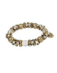 Betsey Johnson Throwback Faceted Bead Stretch Bracelet Gold