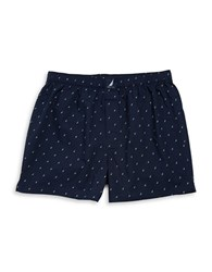 Nautica Patterned Cotton Boxers Peacoat Navy