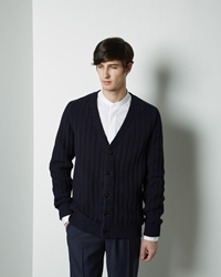 Maison Martin Margiela Line 10 Heavy Cable Knit Cardigan Dark Navy