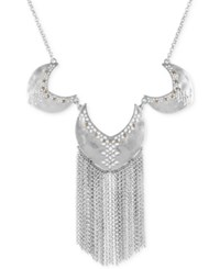 Lucky Brand Two Tone Cut Out Fringe Statement Necklace Silver