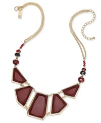 Inc International Concepts Gold Tone Burgundy Beaded Statement Necklace Only At Macy's Merlot
