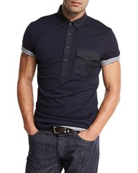 Brunello Cucinelli Jersey Polo W Contrast Pocket And Placket Navy