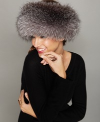 The Fur Vault Fox Fur Headband Indigo