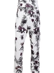 Ann Demeulemeester Printed Cropped Trousers White