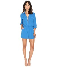 Adelyn Rae Woven Long Sleeve Romper Bright Blue Women's Jumpsuit And Rompers One Piece