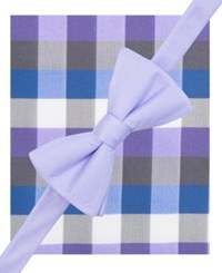 Alfani Spectrum Men's Howard Plaid Pre Tied Bow Tie And Pocket Square Set Only At Macy's Purple
