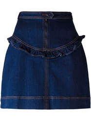 Manoush Frill Detail Denim Skirt Blue