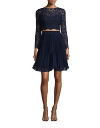 Xscape Evenings Lace Cropped Top And Skirt Set Navy