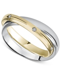 Macy's Stainless Steel And Yellow Ion Plated Ring Diamond Accent 2 Band Ring