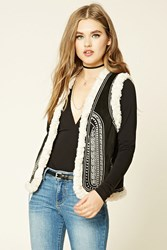 Forever 21 Embroidered Faux Suede Vest Black Taupe