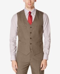 Perry Ellis Men's Subtle Plaid Twill Vest Suit Separate Med Beige