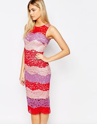 Paper Dolls Pencil Dress In Color Block Lace Multi Lace